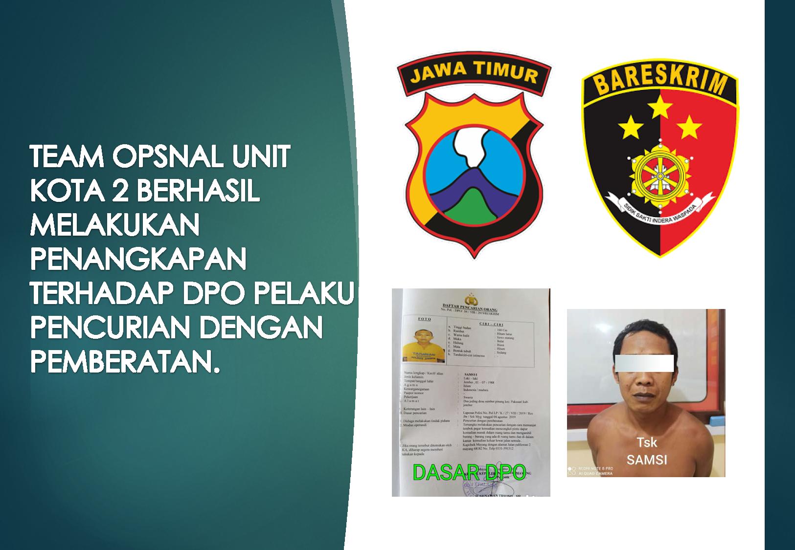 Unit Resmob Kota 2 Satreskrim Polres Jember Tangkap Dpo Pelaku Pencurian Dengan Pemberatan Satreskrim Polres Jember